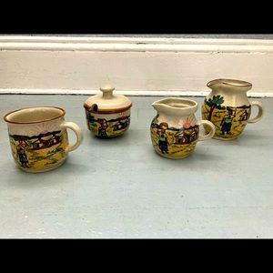 Vintage African 4 piece tea/coffee set with creamer and sugar bowl